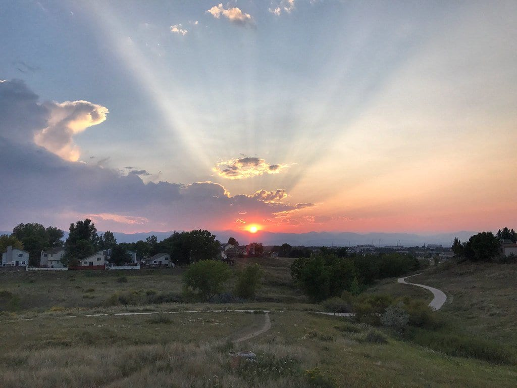 sunset in highlands ranch, CO